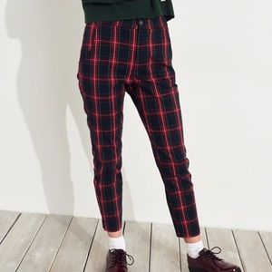 Hollister Stretch High Rise Plaid Trouser Pants